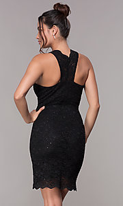Image of cocktail party short v-neck glitter-lace dress. Style: JU-10647 Detail Image 8