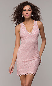 Image of cocktail party short v-neck glitter-lace dress. Style: JU-10647 Front Image