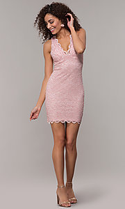 Image of cocktail party short v-neck glitter-lace dress. Style: JU-10647 Detail Image 1