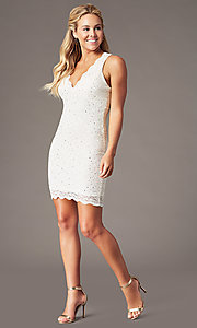 Image of cocktail party short v-neck glitter-lace dress. Style: JU-10647 Detail Image 5