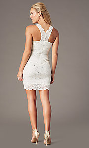 Image of cocktail party short v-neck glitter-lace dress. Style: JU-10647 Detail Image 6