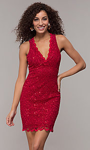 Image of cocktail party short v-neck glitter-lace dress. Style: JU-10647 Detail Image 2