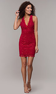 Image of cocktail party short v-neck glitter-lace dress. Style: JU-10647 Detail Image 4