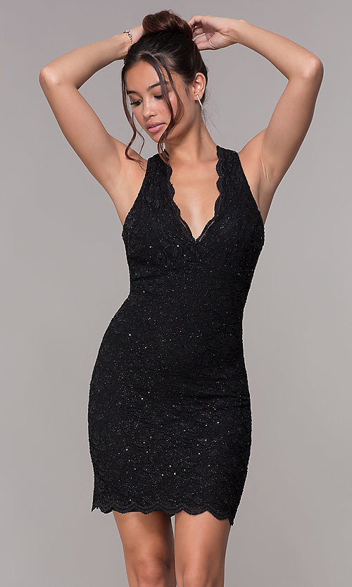Image of cocktail party short v-neck glitter-lace dress. Style: JU-10647 Detail Image 7