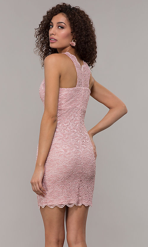 Image of cocktail party short v-neck glitter-lace dress. Style: JU-10647 Detail Image 3
