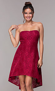 Image of wine red high-low lace wedding-guest dress.  Style: JU-10931 Front Image