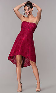Image of wine red high-low lace wedding-guest dress.  Style: JU-10931 Detail Image 3