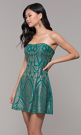 Holiday Party Short A-Line Strapless Dress