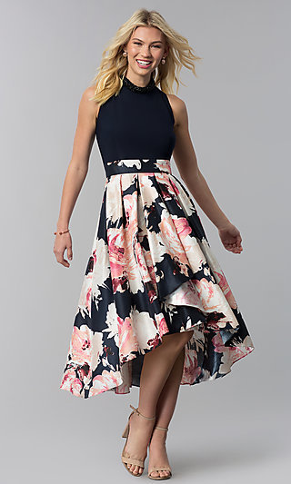 High-Low Floral-Print Wedding-Guest Party Dress