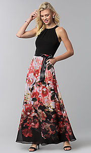 Image of wedding guest long floral-print-skirt sleeveless dress. Style: IT-9177122 Front Image