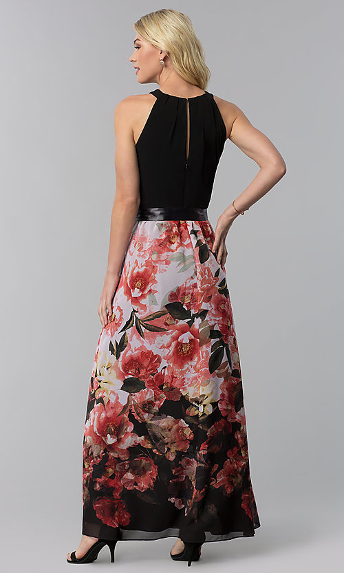 Image of wedding guest long floral-print-skirt sleeveless dress. Style: IT-9177122 Back Image