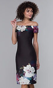 Image of floral-print black wedding-guest party dress. Style: IT-9130145 Front Image
