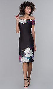 Image of floral-print black wedding-guest party dress. Style: IT-9130145 Detail Image 3