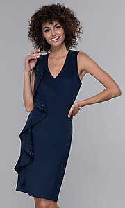 Image of v-neck navy knee-length wedding guest dress. Style: IT-9134123 Front Image