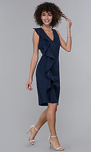 Image of v-neck navy knee-length wedding guest dress. Style: IT-9134123 Detail Image 3