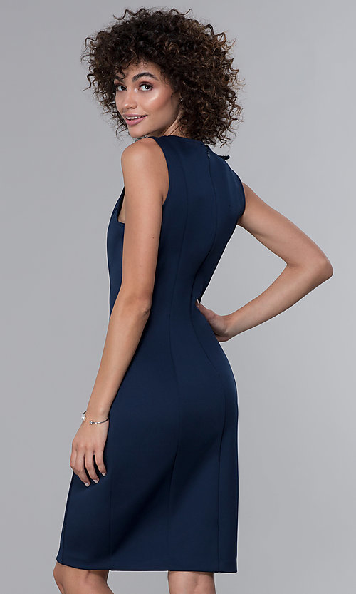 Image of v-neck navy knee-length wedding guest dress. Style: IT-9134123 Back Image