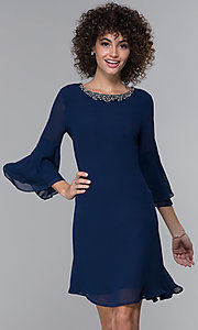 Image of eclipse blue MOB bell-sleeve knee-length party dress. Style: IT-9170217 Front Image