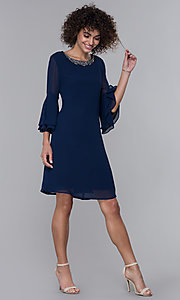 Image of eclipse blue MOB bell-sleeve knee-length party dress. Style: IT-9170217 Detail Image 3
