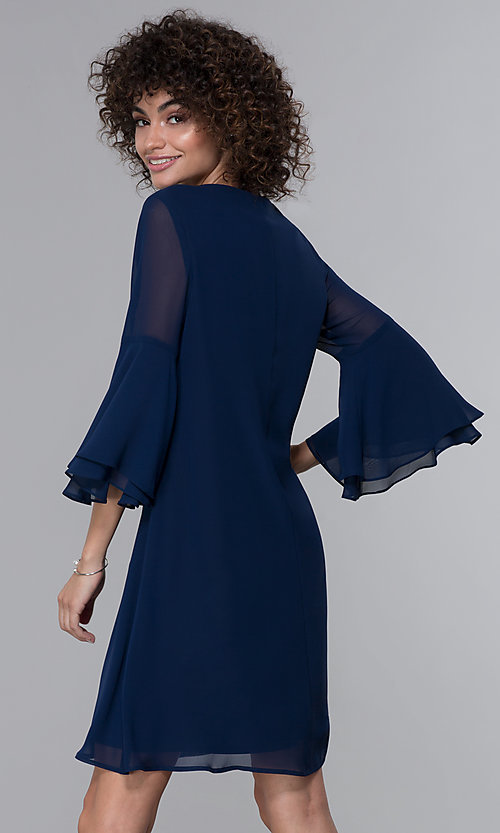 Image of eclipse blue MOB bell-sleeve knee-length party dress. Style: IT-9170217 Back Image