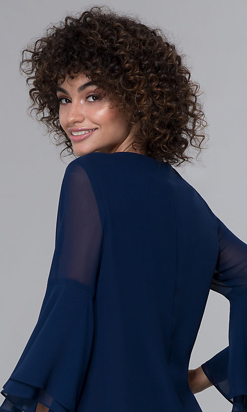 Image of eclipse blue MOB bell-sleeve knee-length party dress. Style: IT-9170217 Detail Image 2