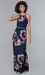 Image of floral-print pleated high-neck wedding guest dress.  Style: IT-9171244 Front Image