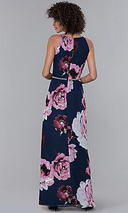 Image of floral-print pleated high-neck wedding guest dress.  Style: IT-9171244 Back Image