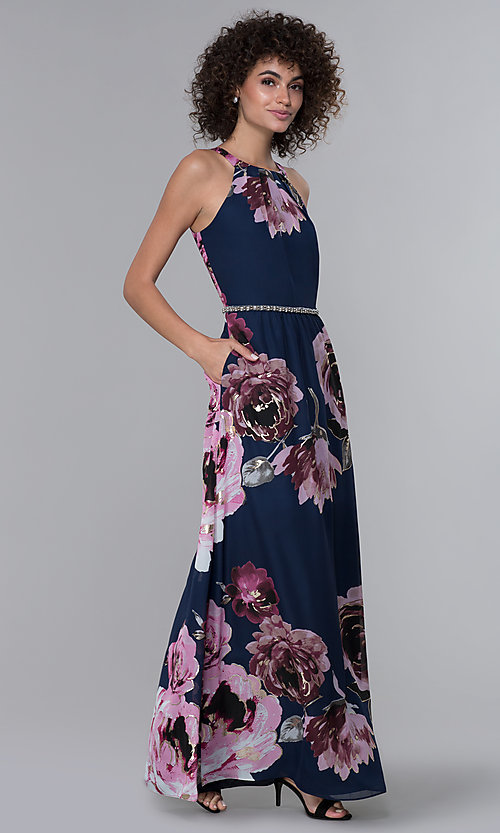 Image of floral-print pleated high-neck wedding guest dress.  Style: IT-9171244 Detail Image 3