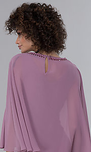 Image of MOB short party dress with popover chiffon capelet. Style: IT-9170254 Detail Image 2