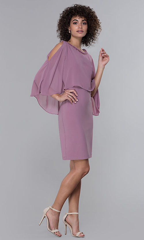 Image of MOB short party dress with popover chiffon capelet. Style: IT-9170254 Detail Image 3