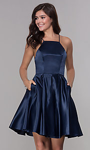 Image of short satin homecoming dress with pockets. Style: PO-8312 Front Image