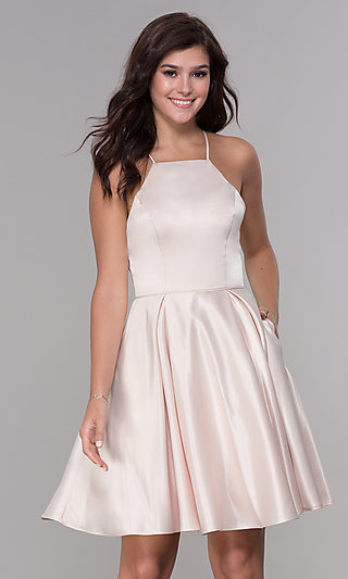 Short Satin Homecoming Dress with Pockets