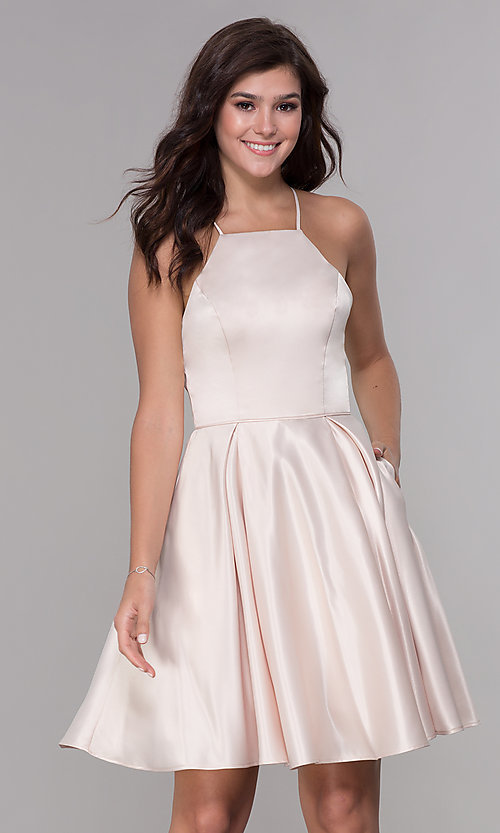 Image of short satin homecoming dress with pockets. Style: PO-8312 Detail Image 2