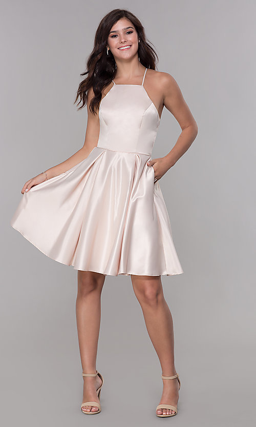 Image of short satin homecoming dress with pockets. Style: PO-8312 Detail Image 3
