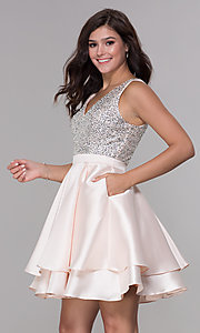 Image of short beaded-bodice tiered satin homecoming dress. Style: PO-8084 Detail Image 2
