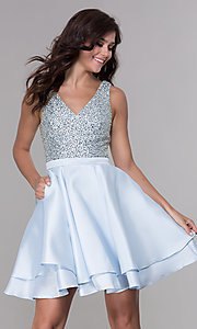 Image of short beaded-bodice tiered satin homecoming dress. Style: PO-8084 Front Image