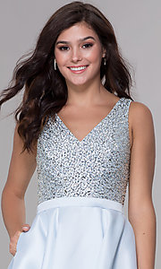 Image of short beaded-bodice tiered satin homecoming dress. Style: PO-8084 Detail Image 1