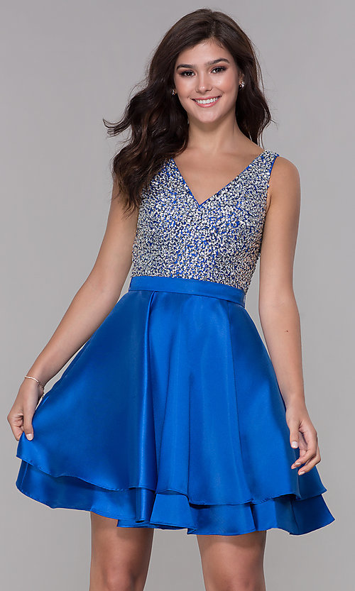 Image of short beaded-bodice tiered satin homecoming dress. Style: PO-8084 Detail Image 3