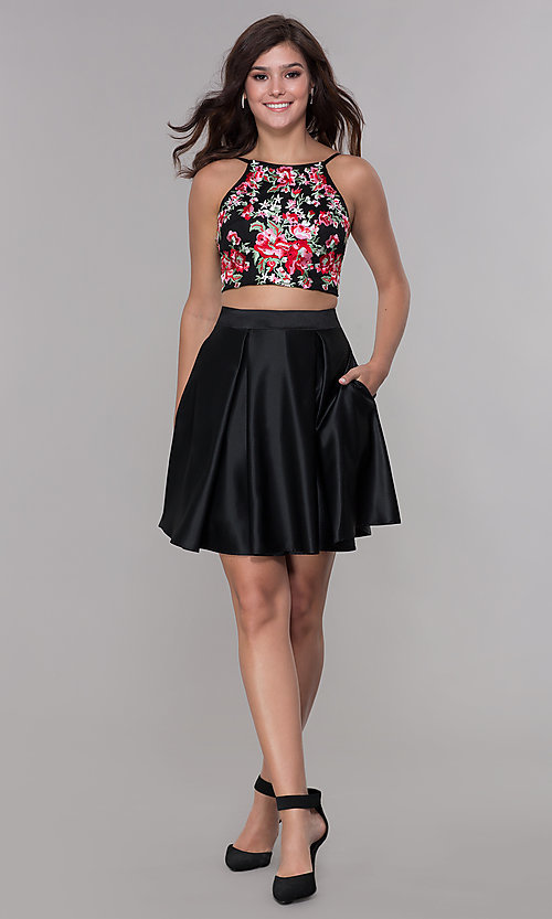 Image of homecoming two-piece black dress with embroidered top. Style: PO-8266 Detail Image 2