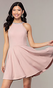 Image of short homecoming dress with rhinestones and pockets. Style: PO-9009 Front Image