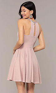 Image of short homecoming dress with rhinestones and pockets. Style: PO-9009 Back Image