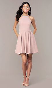 Image of short homecoming dress with rhinestones and pockets. Style: PO-9009 Detail Image 3