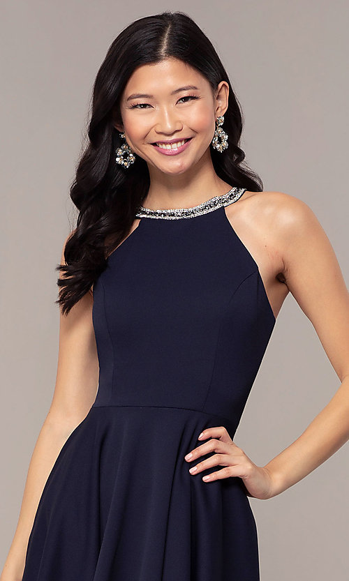 Image of short homecoming dress with rhinestones and pockets. Style: PO-9009 Detail Image 1