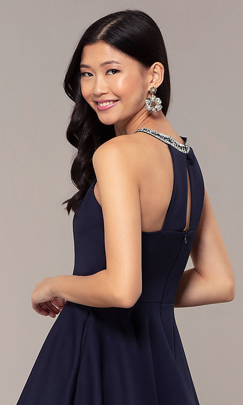 Image of short homecoming dress with rhinestones and pockets. Style: PO-9009 Detail Image 2