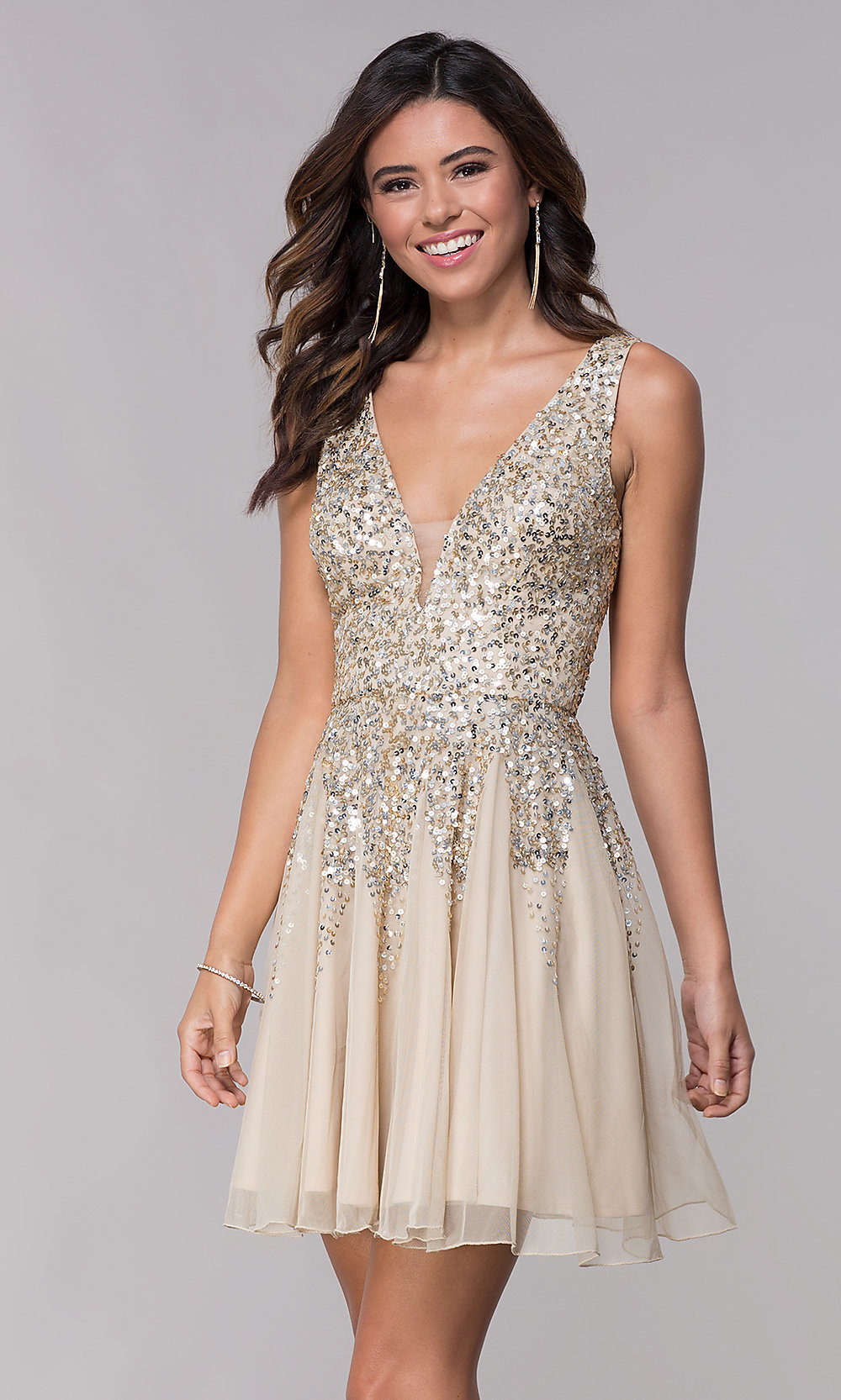 145f6a1d540 Sequined Short Shail K. V-Neck Homecoming Party Dress