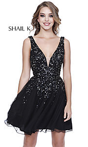 Image of v-neck open-back homecoming dress with sequins. Style: SK-12182 Detail Image 3