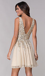 Image of v-neck open-back homecoming dress with sequins. Style: SK-12182 Back Image