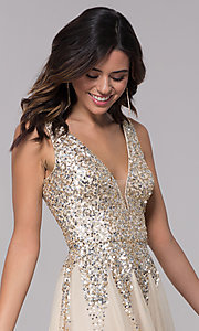 Image of v-neck open-back homecoming dress with sequins. Style: SK-12182 Detail Image 1