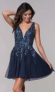 Image of v-neck open-back homecoming dress with sequins. Style: SK-12182 Detail Image 2