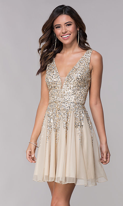 Image of v-neck open-back homecoming dress with sequins. Style: SK-12182 Front Image