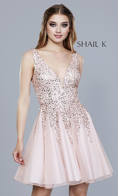 Image of v-neck open-back homecoming dress with sequins. Style: SK-12182 Detail Image 4